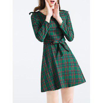 Long Sleeve Plaid Buttoned Dress