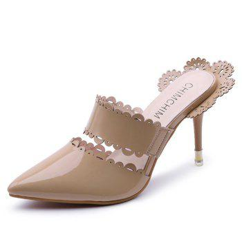 Stiletto Heel Scalloped Slippers - APRICOT 38