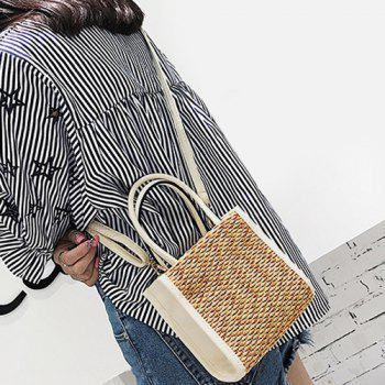 Straw Weave Tote Bag - WHITE