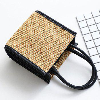 Straw Weave Tote Bag -  BLACK