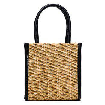 Straw Weave Tote Bag - BLACK BLACK