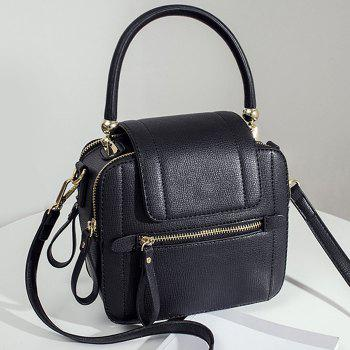 Faux Leather Zippers Handbag - BLACK BLACK