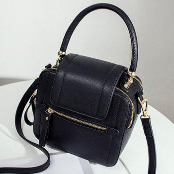 Faux Leather Zippers Handbag -  BLACK