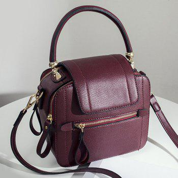 Faux Leather Zippers Handbag - WINE RED WINE RED