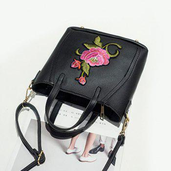 Flower Embroidery Faux Leather Tote Bag -  BLACK