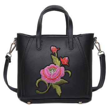 Flower Embroidery Faux Leather Tote Bag