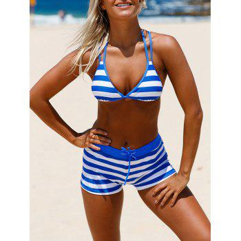 Cross Back Halter Striped Bikini Set