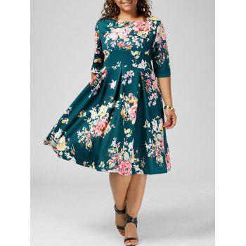 Floral High Waisted A Line Plus Size Dress