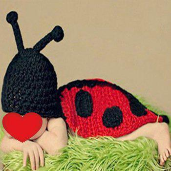 Baby Photography Beetle Knit Hooded Blanket - BLACK RED BLACK RED