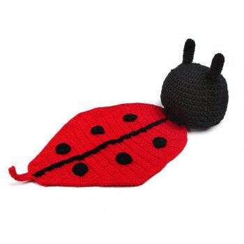 Baby Photography Beetle Knit Hooded Blanket -  BLACK RED