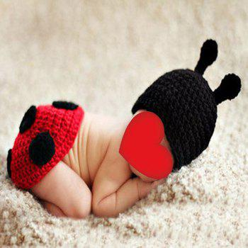 Knitted Ladybird Photography Clothes Set For Baby - BLACK RED BLACK RED