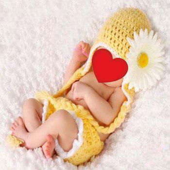 African Chrysanthemum Knit Baby Photography Clothes Set - YELLOW YELLOW