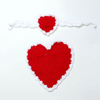 Love Heart Knit Photography Clothes Set For Baby - RED