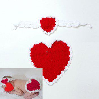 Love Heart Knit Photography Clothes Set For Baby - RED RED