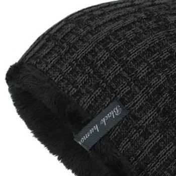Warm Velvet Lining Knitting Beanie - BLACK GREY