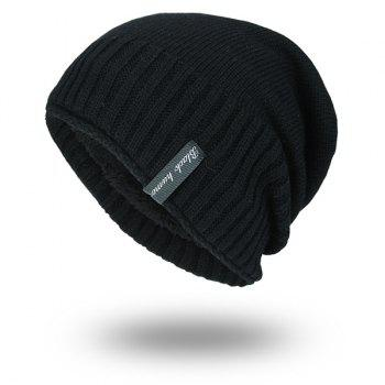 Velvet Lining Pinstriped Knitting Warm Beanie