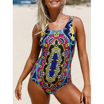 Printed Lace Up One Piece Swimsuit