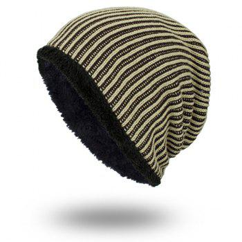 Velvet Lining Stripe Knitted Warm Beanie