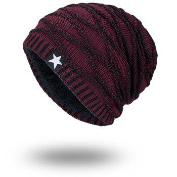 Wave Striped Velvet Lining Knitting Warm Beanie