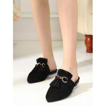 Pointed Toe Tassels Slippers - BLACK 38