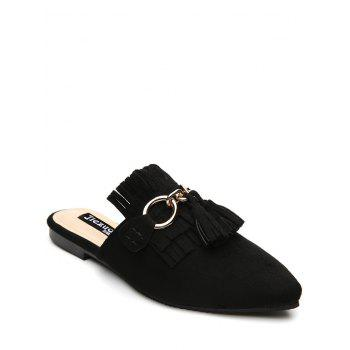 Pointed Toe Tassels Slippers - BLACK 39