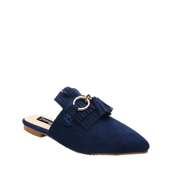 Pointed Toe Tassels Slippers - BLUE 38