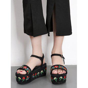 Embroidery Platform Denim Sandals - 40 40