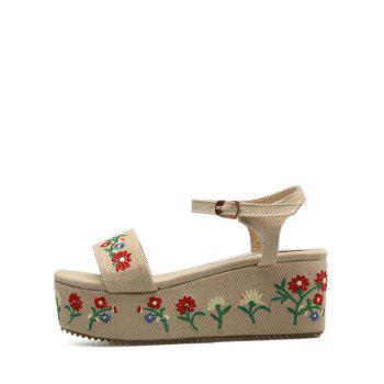Embroidery Platform Denim Sandals - APRICOT 37