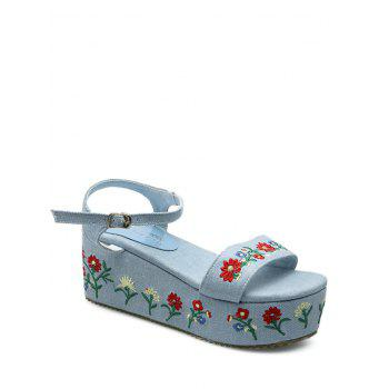 Embroidery Platform Denim Sandals - LIGHT BLUE 37