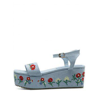Embroidery Platform Denim Sandals - 37 37