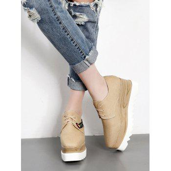 Square Toe Embroidery Denim Wedge Shoes - APRICOT APRICOT