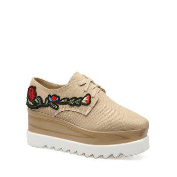 Square Toe Embroidery Denim Wedge Shoes - APRICOT 39