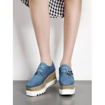 Square Toe Embroidery Denim Wedge Shoes - 39 39