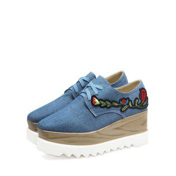 Square Toe Embroidery Denim Wedge Shoes - DENIM BLUE DENIM BLUE