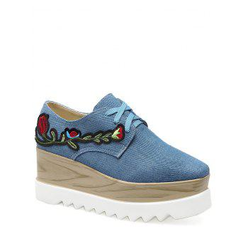 Square Toe Embroidery Denim Wedge Shoes