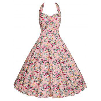 Plus Size Floral Halter A Line Dress