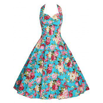 Floral Plus Size Halter Vintage Dress