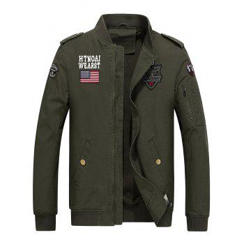 Stand Collar Flag and Shark Embroider Jacket