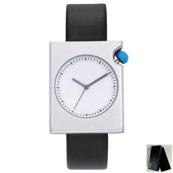 Faux Leather Strap Rectangle Watch - BLACK WHITE BLACK WHITE