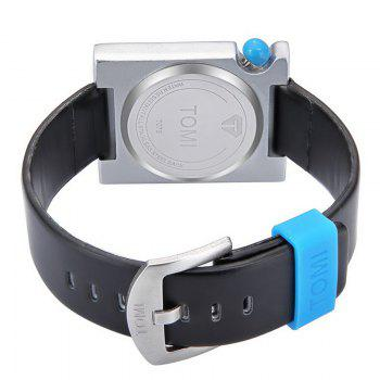 Faux Leather Strap Rectangle Watch -  BLACK WHITE