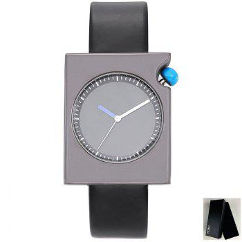 Faux Leather Strap Rectangle Watch - BLACK BLACK