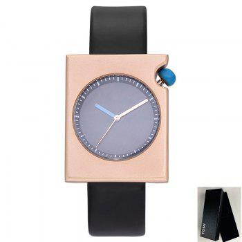 Faux Leather Strap Rectangle Watch - BLACK GOLD BLACK GOLD