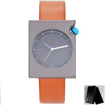 Faux Leather Strap Rectangle Watch - BROWN BROWN