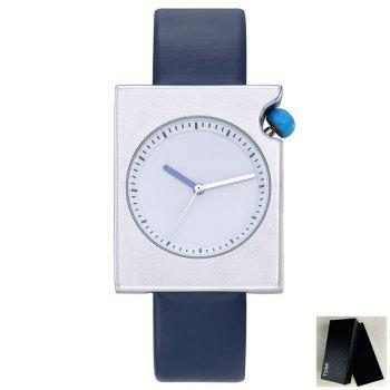 Faux Leather Strap Rectangle Watch - BLUE BLUE