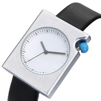 Faux Leather Strap Rectangle Watch - BLUE