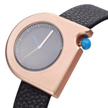 Faux Leather Strap Semicircle Watch -  BLACK WHITE