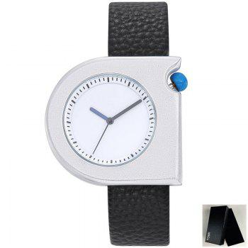 Faux Leather Strap Semicircle Watch - BLACK WHITE BLACK WHITE