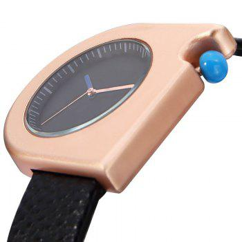 Faux Leather Strap Semicircle Watch - GOLD BROWN