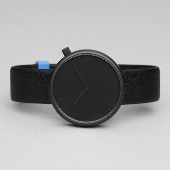 Minimalist Faux Leather Strap Analog Watch -  BLACK