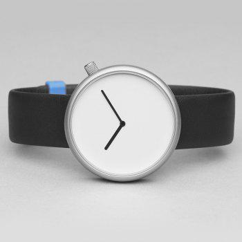 Minimalist Faux Leather Strap Analog Watch - BLACK WHITE
